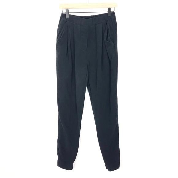 3.1 Phillip Lim Silk Jogger Pants Black Pleated